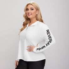 Camiseta tapeta media con cremallera con aro O con estampado de slogan