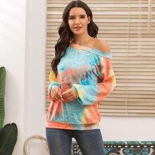 Asymmetrical Neck Tie Dye Print Sweatshirt