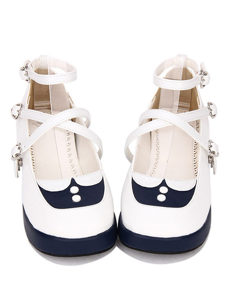 Milanoo Sweet Lolita Footwear Two Tone Strappy Platform Deep Blue Lolita Shoes