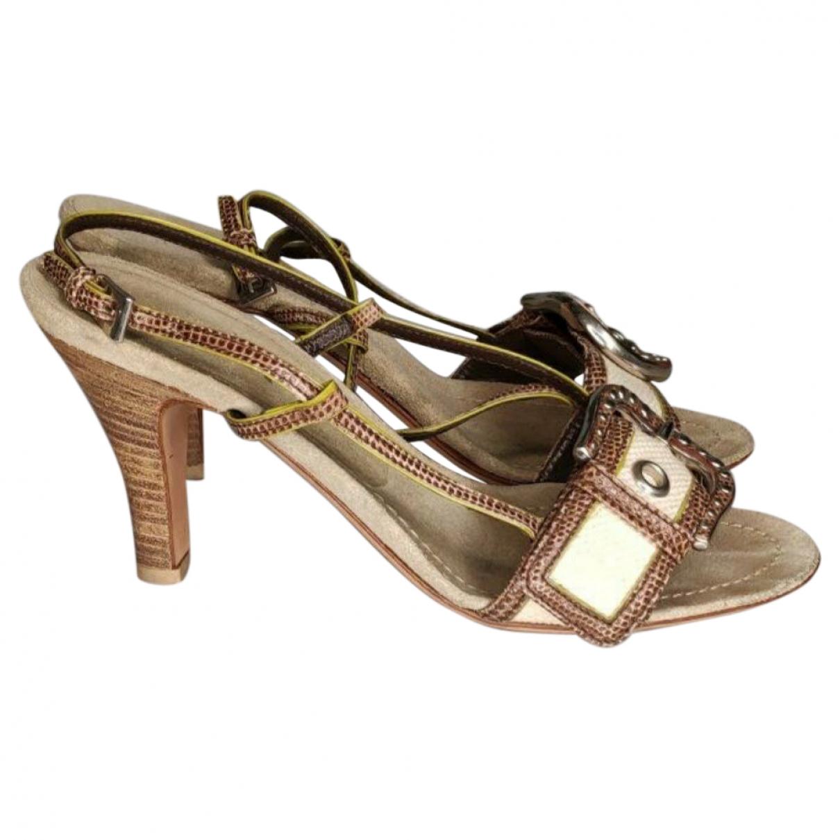 Prada - Sandales   pour femme en cuir exotique - ecru
