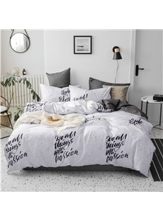 Black Letters Pattern Double-sided Concise Style 4-Piece Cotton Bedding Sets/Duvet Covers