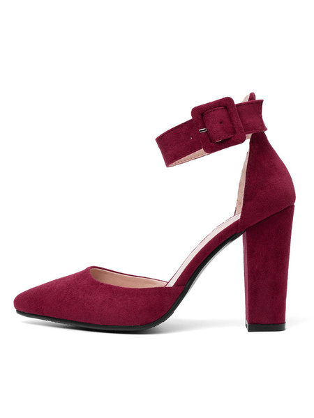 Milanoo Women High Heels Burgundy Pointed Toe Buckle Detail Ankle Strap Pumps