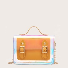 Pin Buckle Front Holographic Satchel Bag