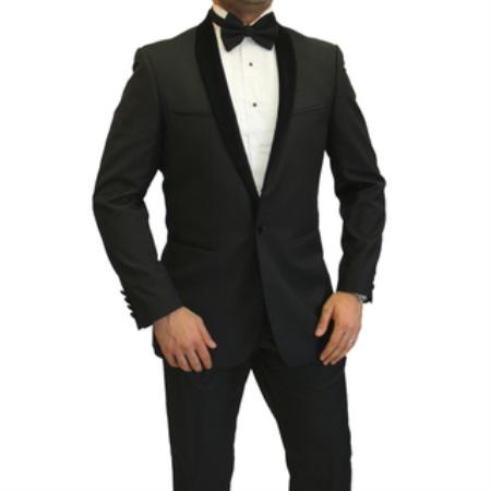 Mens Velvet Shawl Suit Black