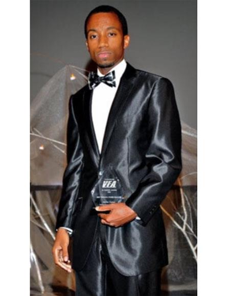 Mens 2 Buttons Suit Shiny ~ Flashy Charcoal Grey or Black or BlueSuit