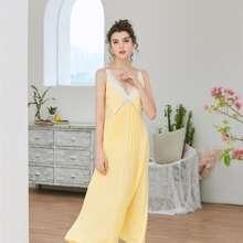 Cami Kleid mit Kontrast Spitzen Einsatz