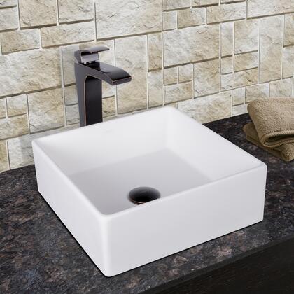 VGT1002 VIGO Bavaro Composite Vessel Sink and Linus Bathroom Vessel Faucet in Antique Rubbed Bronze w/ Pop