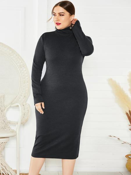 Yoins Plus Size Turtleneck Long Sleeves Midi Dress