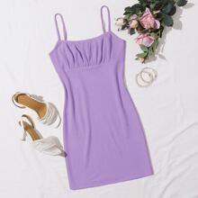 Ruched Bust Waffle Knit Cami Dress