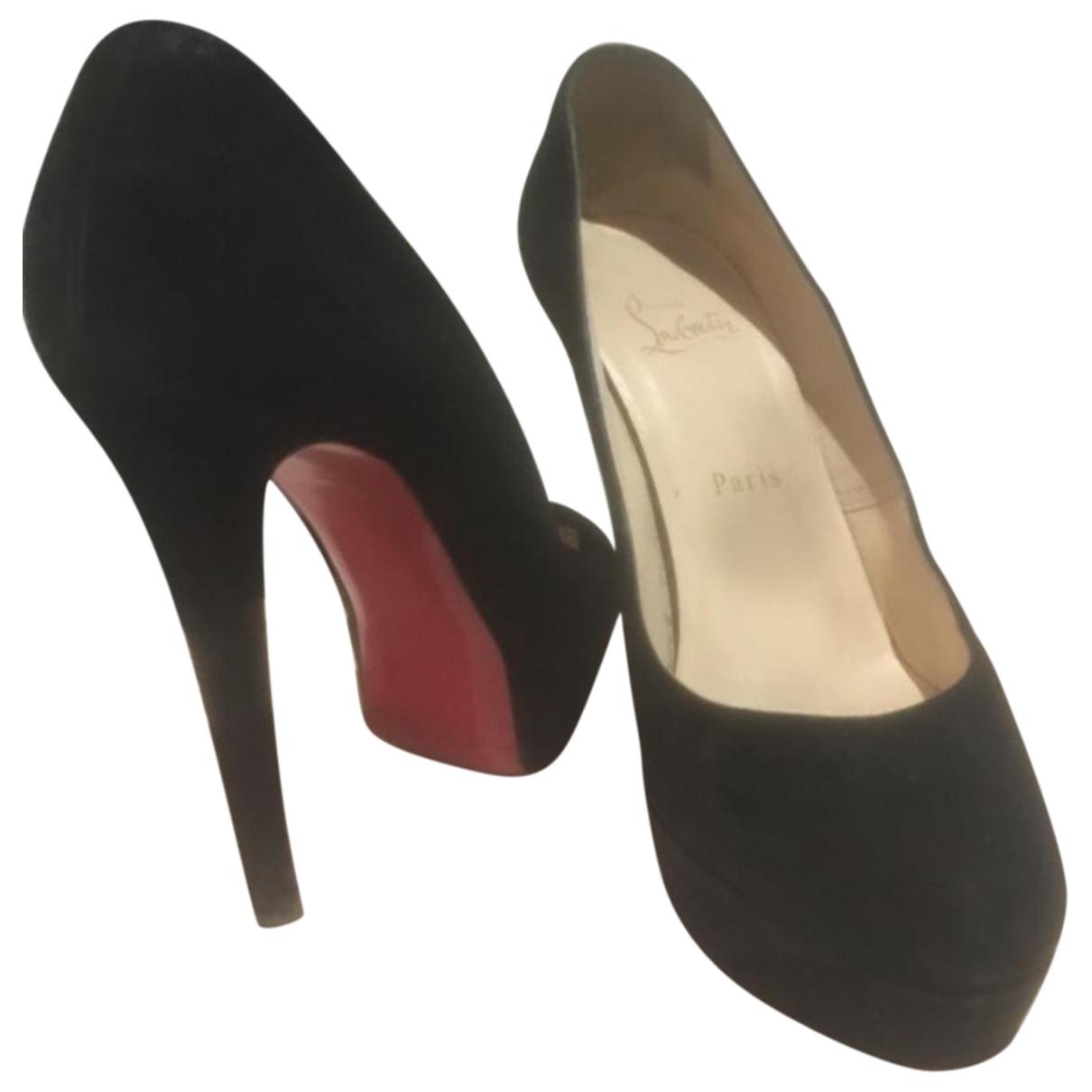 Christian Louboutin Bianca Black Velvet Heels for Women 38 EU