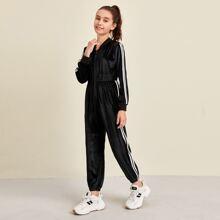 Girls Contrast Striped Side Velvet Jumpsuit