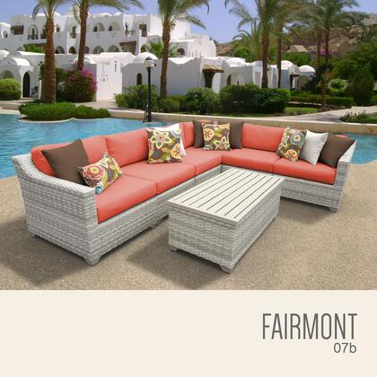 FAIRMONT-07b-TANGERINE Fairmont 7 Piece Outdoor Wicker Patio Furniture Set 07b with 2 Covers: Beige and