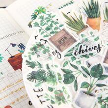 40 Stuecke Aufkleber mit zufaelligem Pflanzen Muster