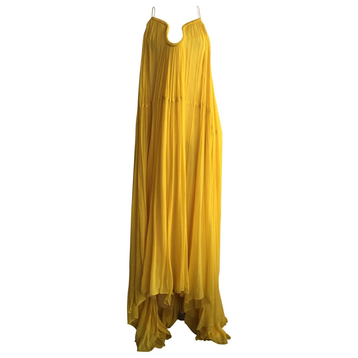 Chloe - Robe   pour femme en soie - jaune