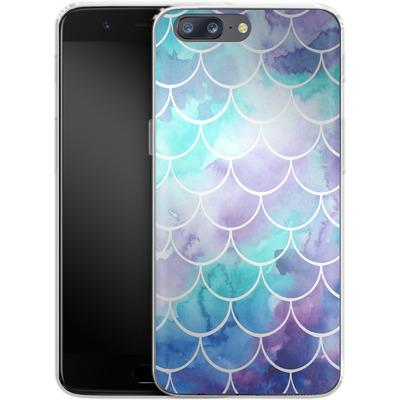 OnePlus 5 Silikon Handyhuelle - Purple Mermaid Scales von Becky Starsmore