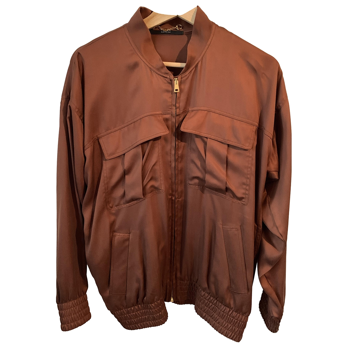 Gucci N Brown Silk Leather jacket for Women 38 IT