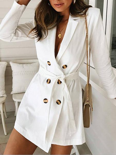 Yoins White Belt Design Notch Collar Long Sleeves Formal Dress
