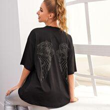 Camisetas grafico Negro Casual