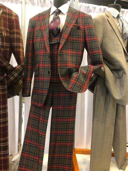 Mens  Notch Lapel Dark Plaid Suit