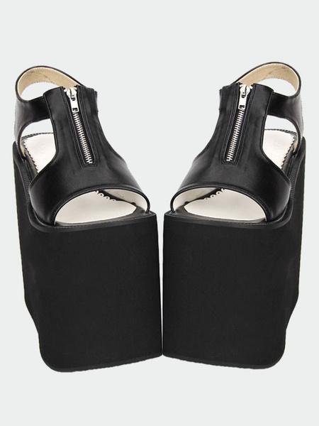 Milanoo Matte Black/White Lolita Sandals High Platform Zipper Designed
