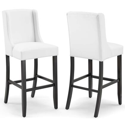 Baron Collection EEI-4019-WHI Bar Stool Faux Leather Set of 2 in White