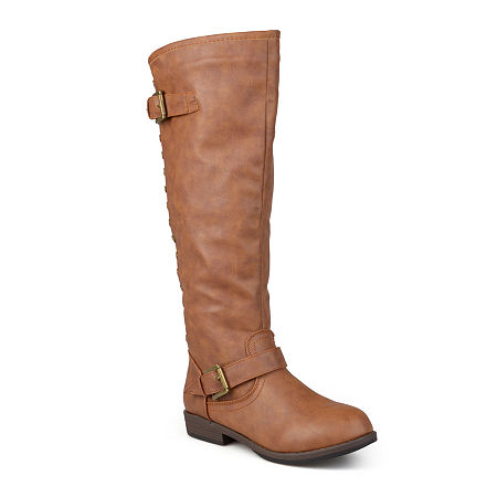 Journee Collection Womens Spokane Wide Calf Riding Boots, 7 1/2 Medium, Brown