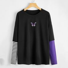 Butterfly Embroidery Colorblock Oversized Tee