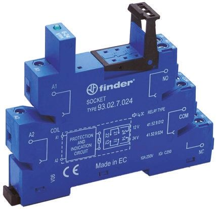 Finder Relay Socket, 250V ac for use with 41 Series