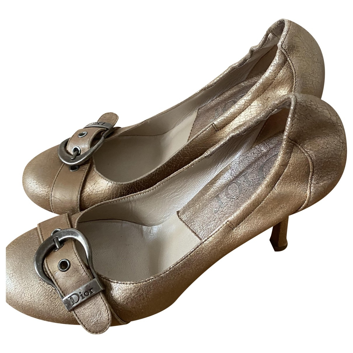 Dior \N Gold Leather Heels for Women 36 EU