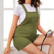 Maternity Overall Shorts mit Taschen Flicken und Manschetten am Saum