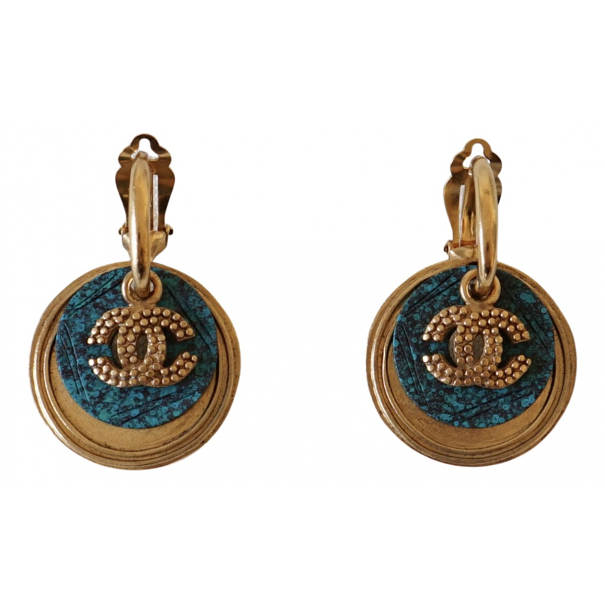 Chanel CC Gold Gold plated Earrings for Women N
