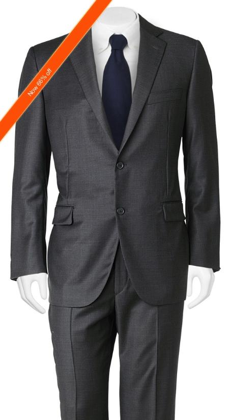 Mens Suit Slim Cut European Black in 2Button