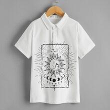 Boys Graphic Print Polo Shirt