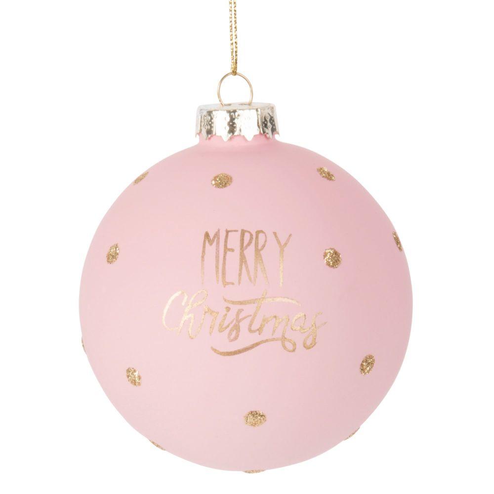 Weihnachtskugel aus Glas, rosa und goldfarben