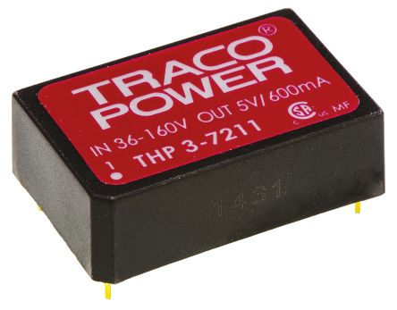 TRACOPOWER THP 3 3W Isolated DC-DC Converter Through Hole, Voltage in 18 → 80 V dc, Voltage out ±15V dc Medical