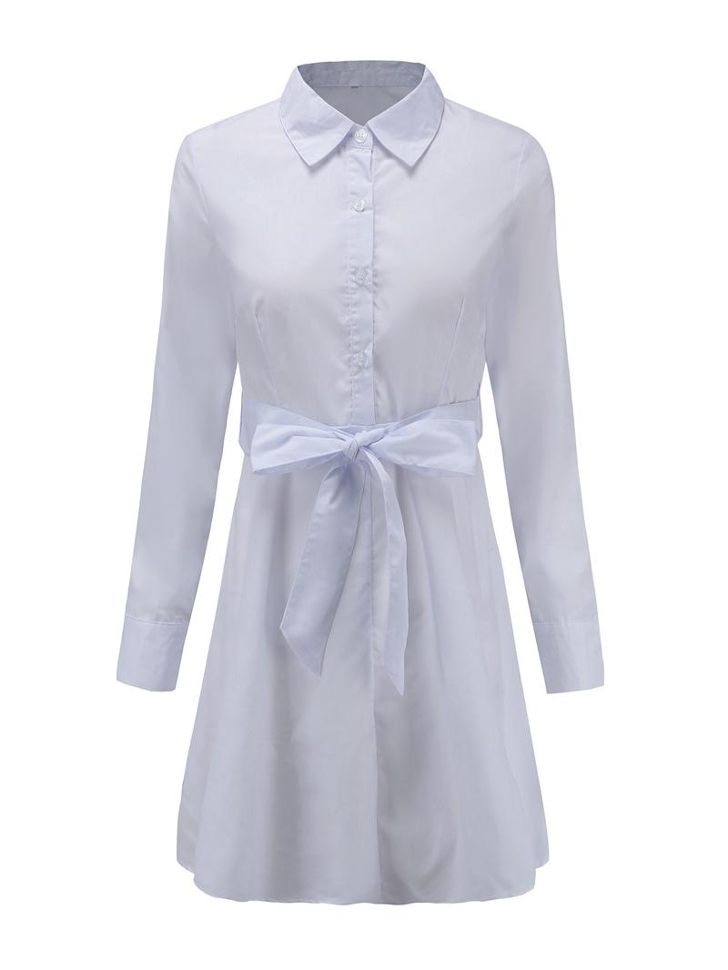 Ericdress Long Sleeve Button Lapel Neutral Plain Dress