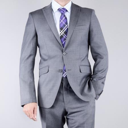 Mantoni Mens Textured Grey 2Button SlimFit Wool Suit