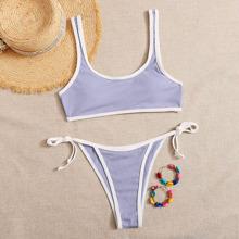 Rib Contrast Binding Tie Side Bikini Swimsuit