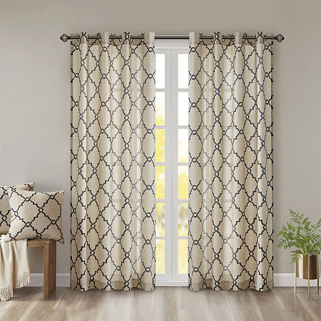 Madison Park Westmont Fretwork Print Light-Filtering Grommet-Top Single Curtain Panel, One Size , Brown
