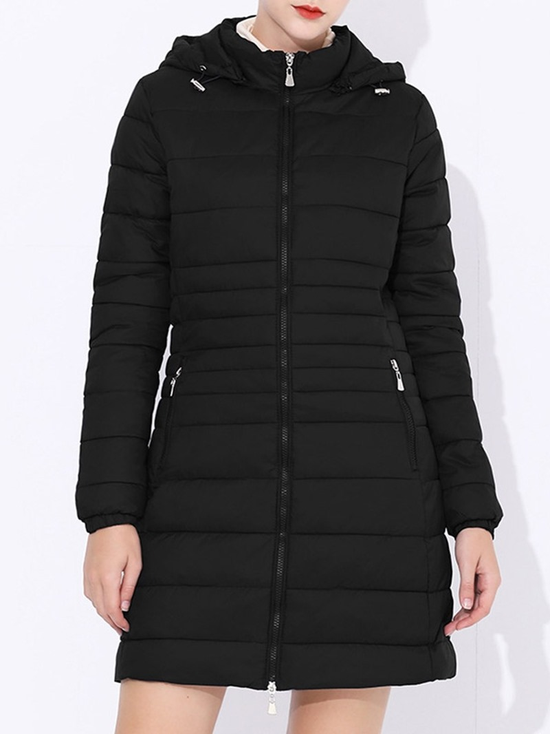 Ericdress Zipper Slim Thin Mid-Length Cotton Padded Women's Jacket