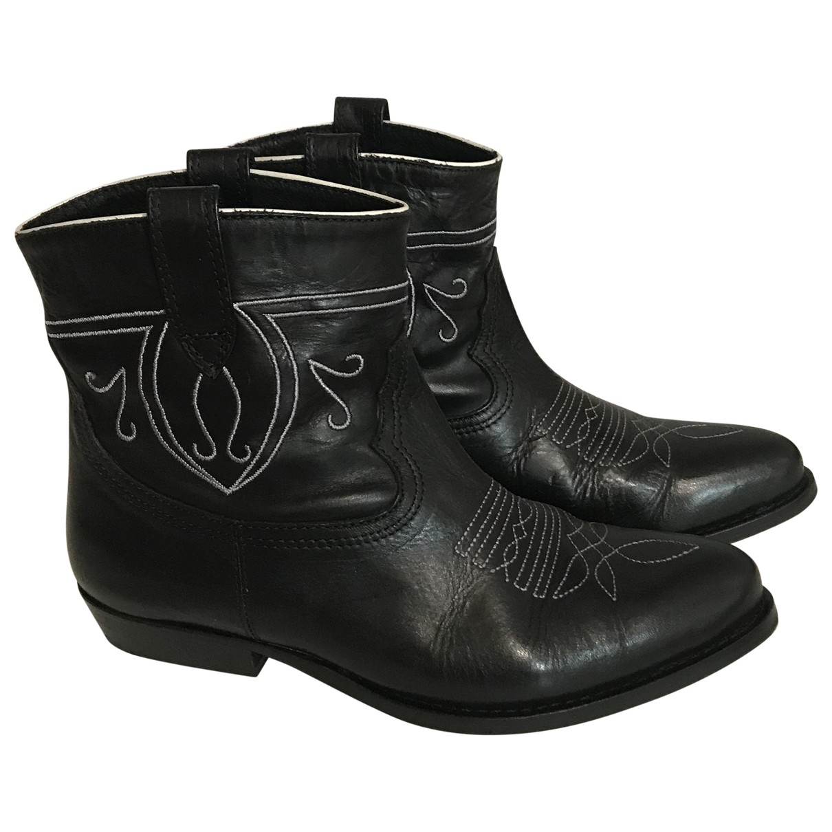 Ba&sh \N Black Leather Ankle boots for Women 36 EU