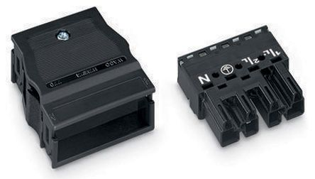 Wago 770 Series, Male 4 Pole 8 Way Distribution Block, with Strain Relief, Rated At 25A, 400 V, Black