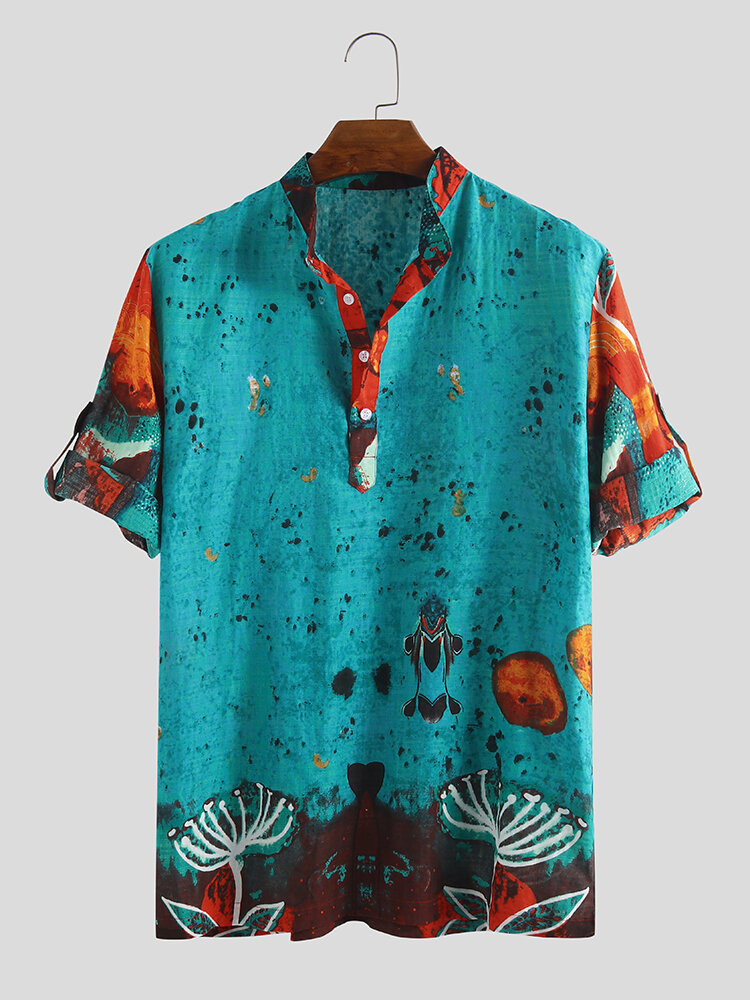 Mens Ethnic Style Graffiti Printing Half Sleeve 100% Cotton Loose Casual Designer Henley Shirt