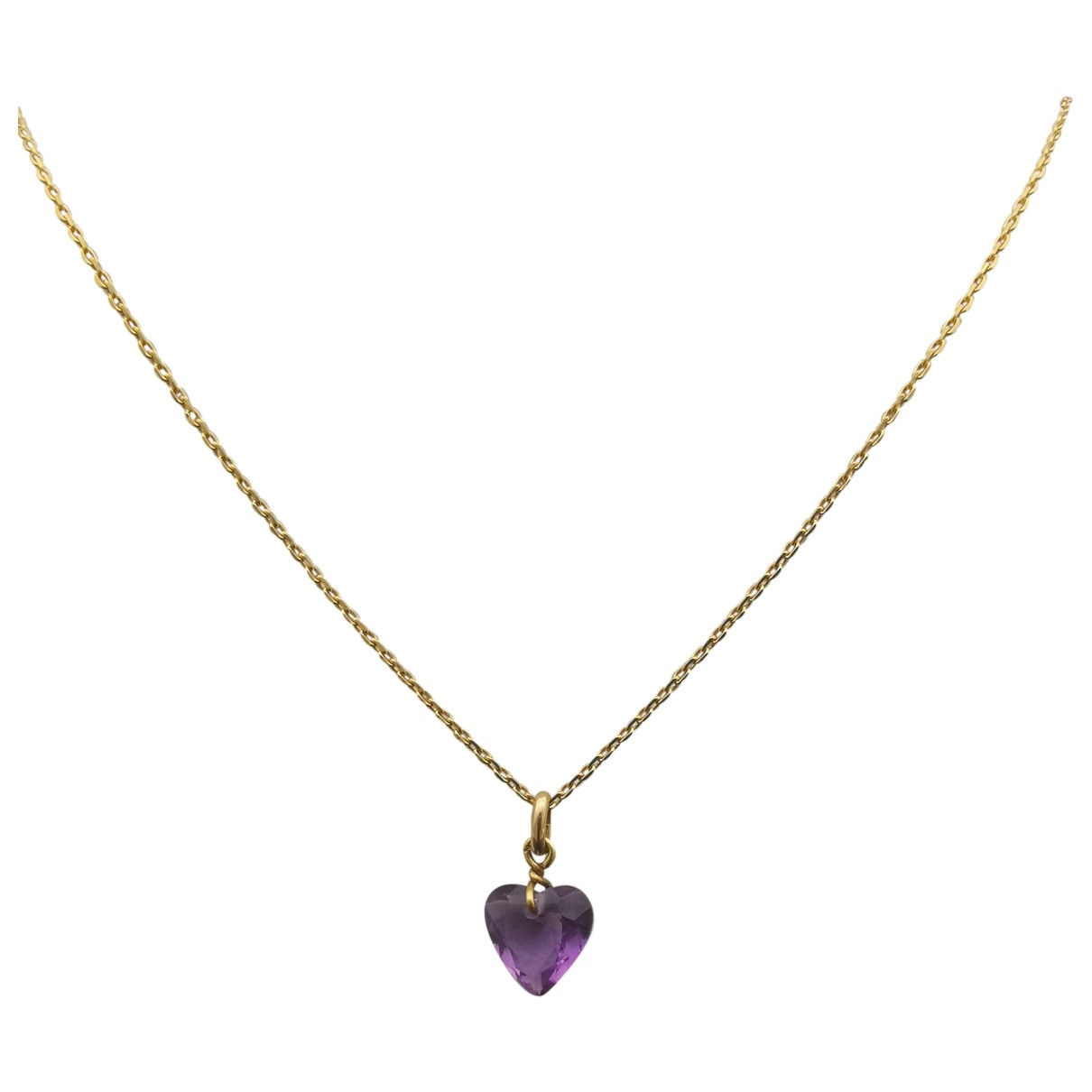 Non Signe / Unsigned Amethyste Kette in  Gold Gelbgold