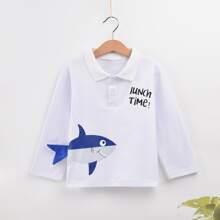 Polo Shirt mit Karikatur und Buchstaben Grafik