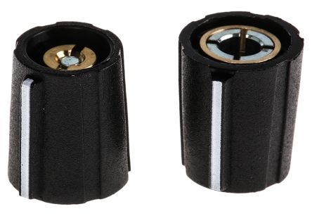 Sifam Potentiometer Knob, Collet Type, 11.5mm Knob Diameter, Black, 4mm Shaft (10)
