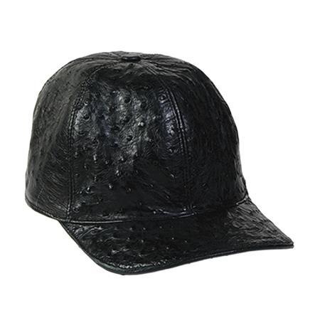 Black Genuine Ostrich Cap