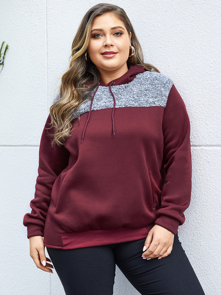 Yoins Plus Size Burgundy Hooded Design Patchwork Sweatshirt