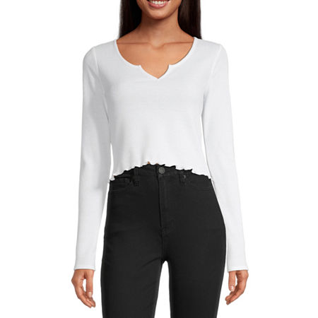 Flirtitude-Juniors Womens Scoop Neck Long Sleeve Thermal Top, Small , White