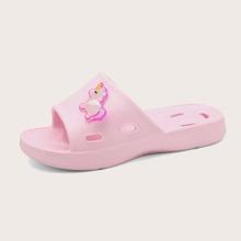 Zapatillas de niñitas aplique con unicornio de dibujos animados